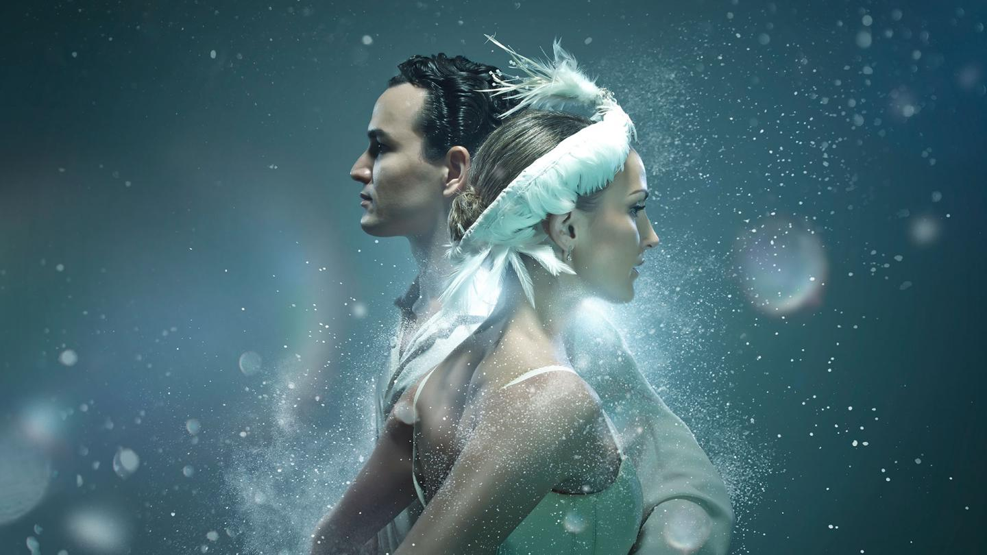 Poster image for Swan Lake with dancers Javier Torres and Hannah Bateman.