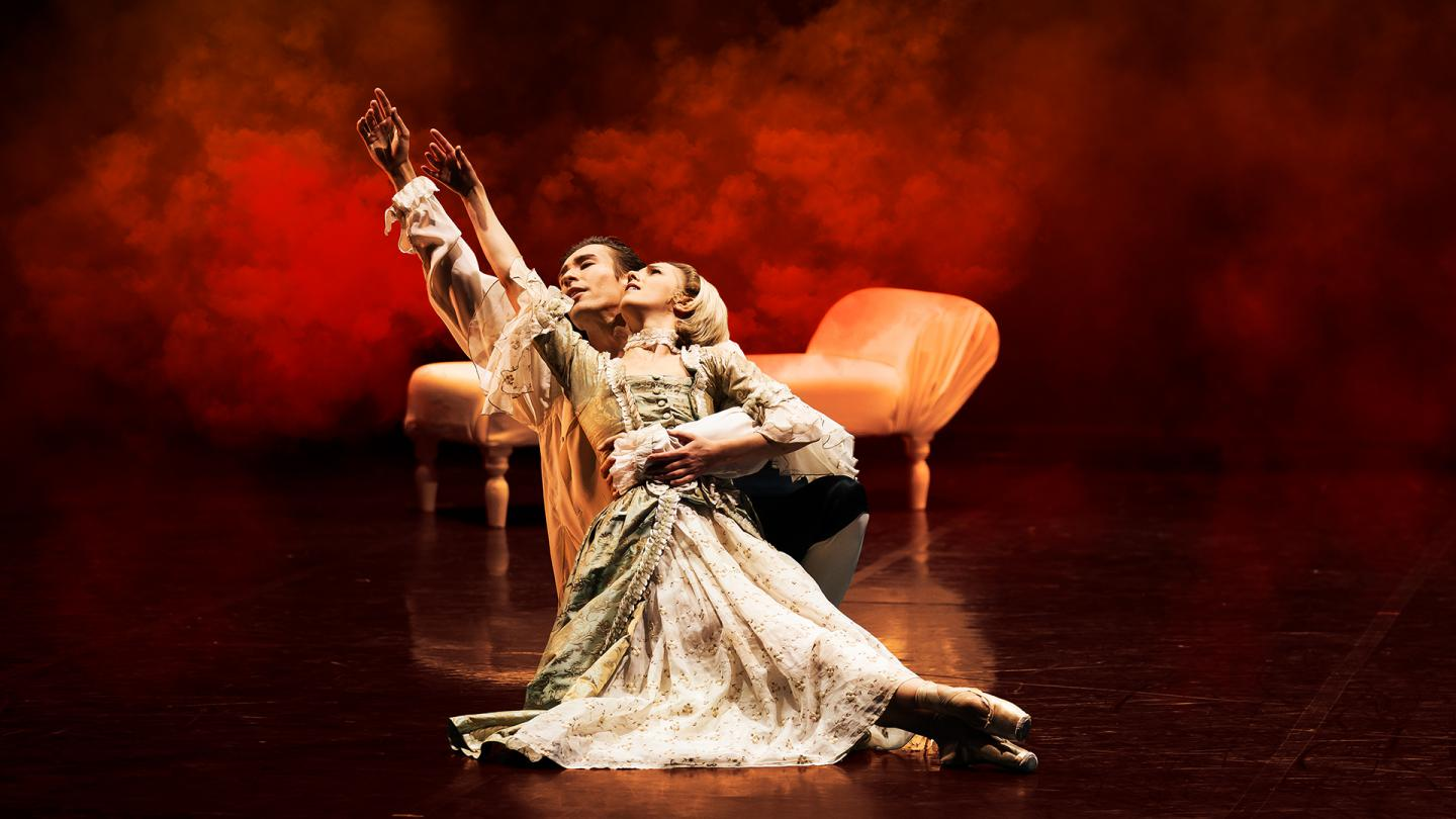 Joseph Taylor and Antoinette Brooks Daw in Dangerous Liaisons.