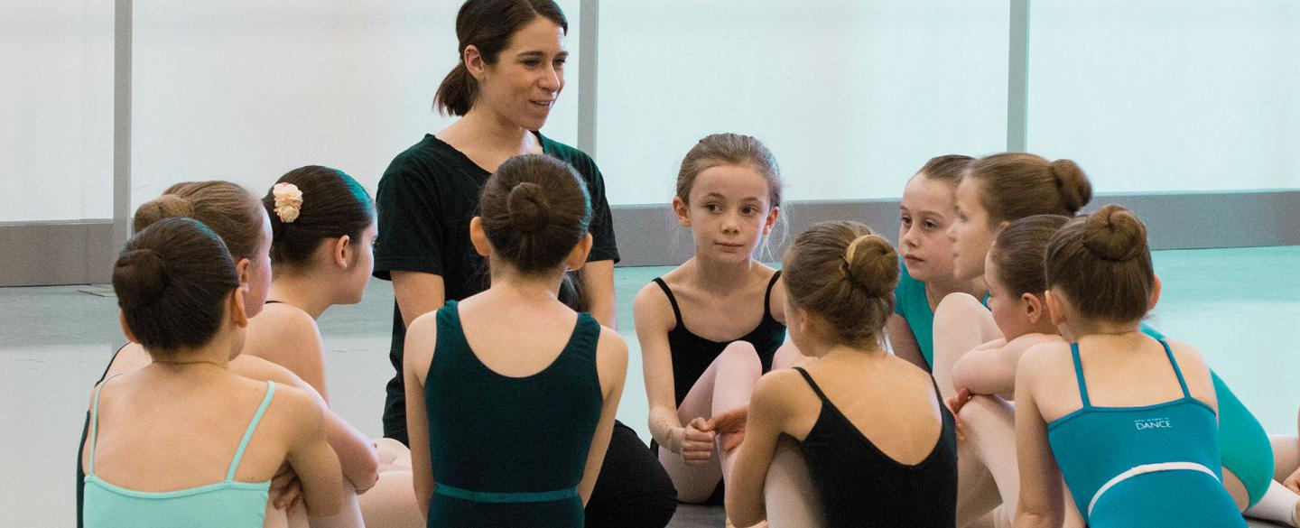 Cara O'Shea instucts childen while they are auditioning for the Academy. Photo Lauren Godfrey.