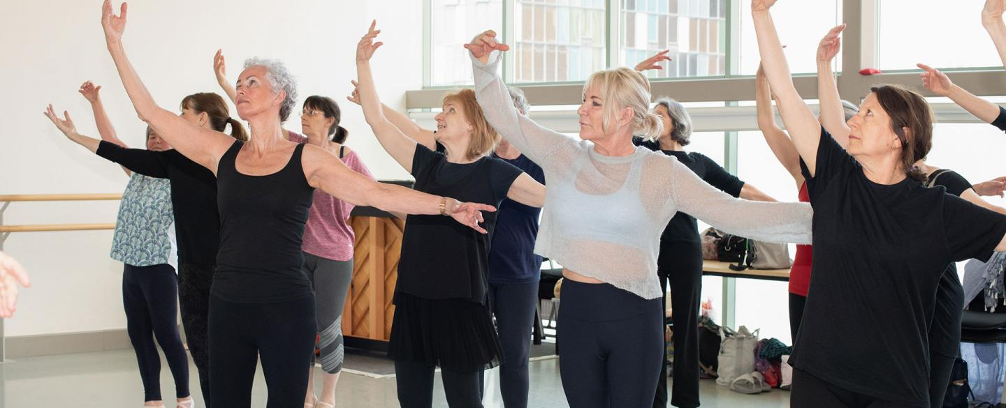 Students doing centre work on the Academy of Northern Ballet's Over 55s class. Photo Kathie Tiffany