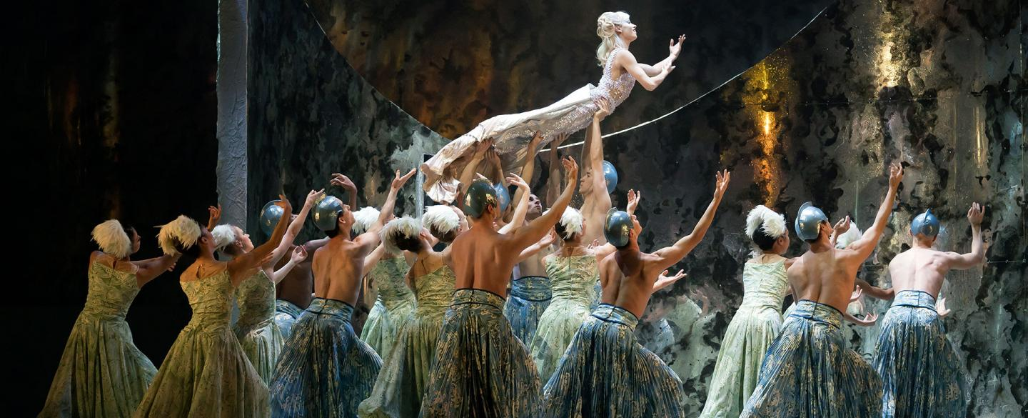 Abigail Prudames's Little Mermaid is lifted by an ocean of dancers. Photo Emma Kauldhar.