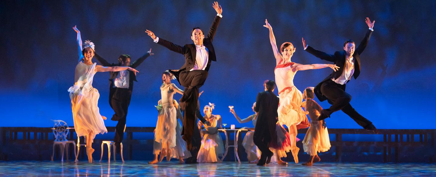 Northern Ballet dancers performing a Charleston in The Great Gatsby. Photo Emma Kauldhar.