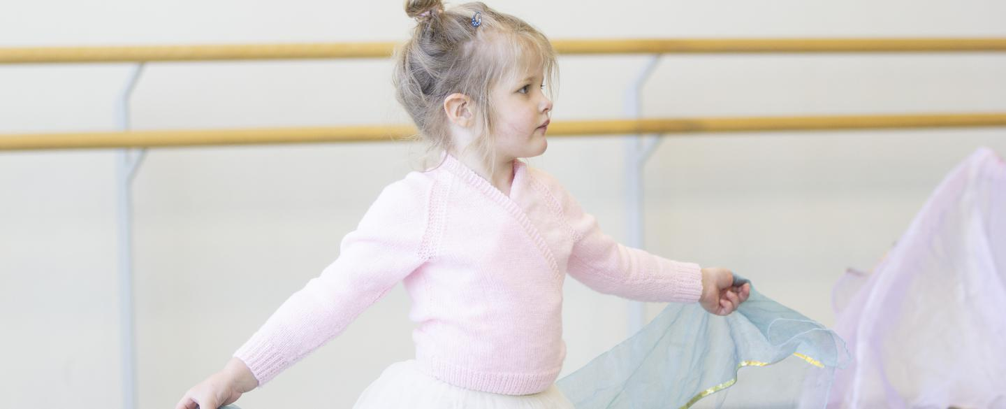 Academy of Northern Ballet student in moving minis class dancing with a scarf