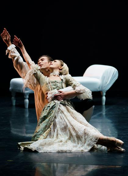 Joseph Taylor and Antoinette Brooks-Daw in Dangerous Liaisons. Photo Emma Kauldhar.