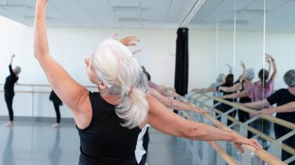 Students at the barre on the Academy of Northern Ballet's Over 55s class. Photo Kathie Tiffany