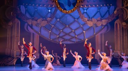 Northern Ballet dancers dancing in perfect time at the Ball in our ballet of Cinderella. Photo Emma Kauldhar.