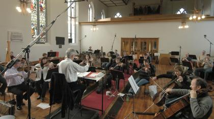 Northern Ballet Sinfonia at a recording studio in Halifax creating a CD of the music.