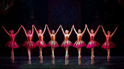 Nortehrn Ballet dancers line up perfectly as flowers in The Nutcracker.