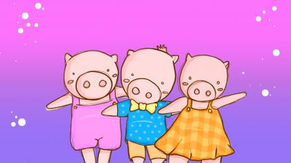 Three Little Pigs illustration by Emily Nuttall