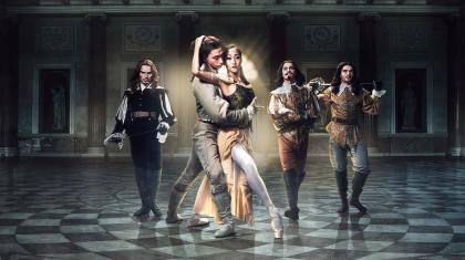 Northern Ballet dancers in poster image for The Three Musketeers, photo by Guy Farrow